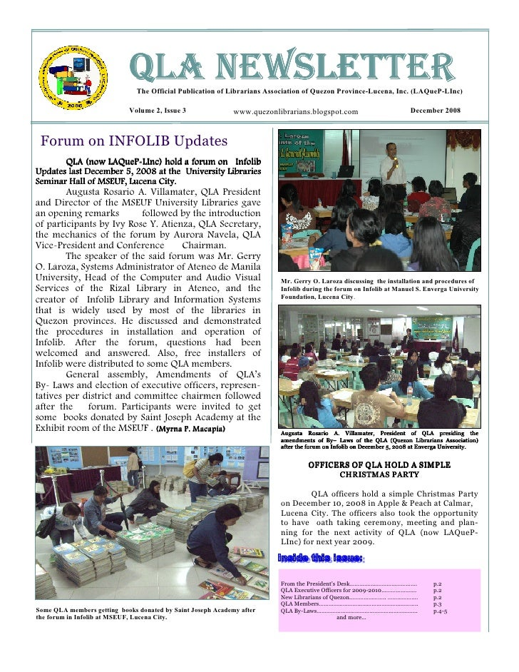 QLA NEWSLETTER                                The Official Publication of Librarians Association of Quezon Province-Lucena...