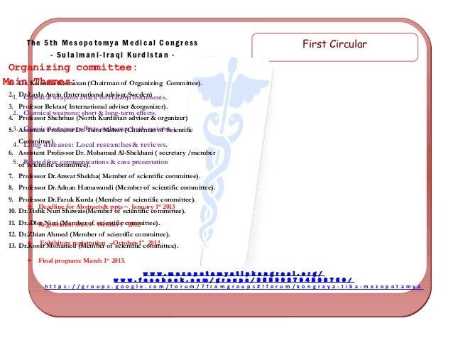 t      The 5th Mesopotomya Medical Congress                                                       First Circular          ...