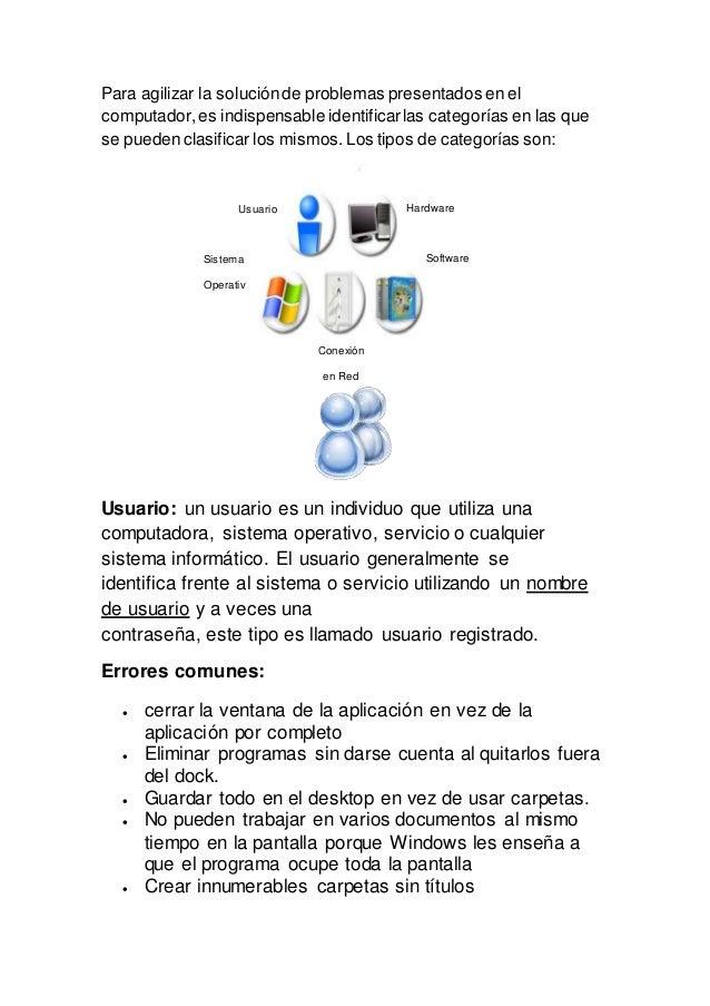 Para agilizar la soluciónde problemas presentados en el computador,es indispensable identificarlas categorías en las que s...