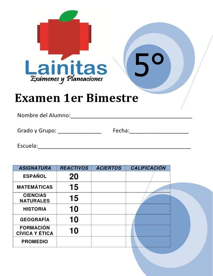 Examen 1er BimestreNombre del Alumno ...