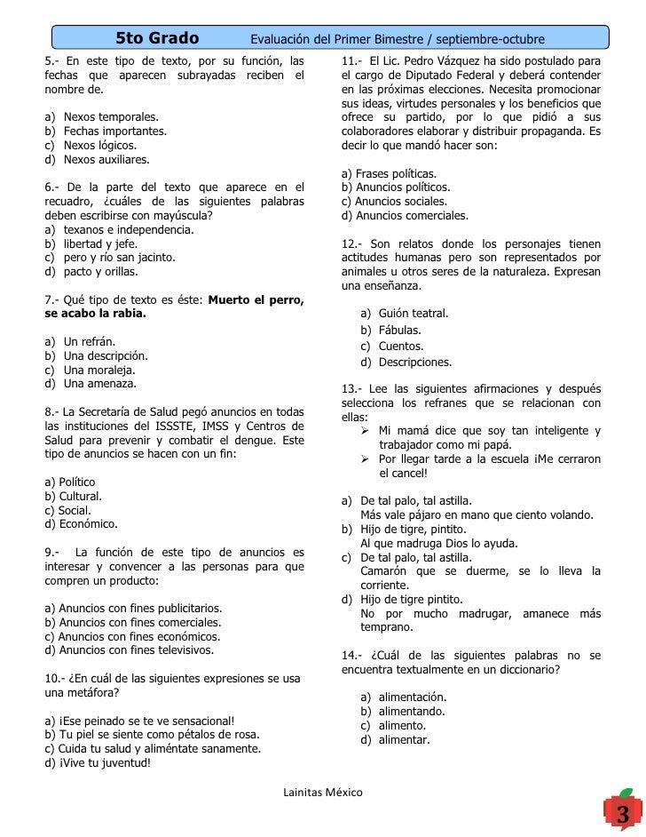 Examen De 5 Grado 3 Bimestre 2016 | New Style for 2016-2017
