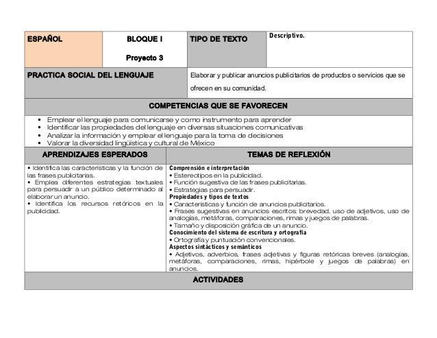 Descriptivo.ESPAÑOL                            BLOQUE I              TIPO DE TEXTO                                   Proye...