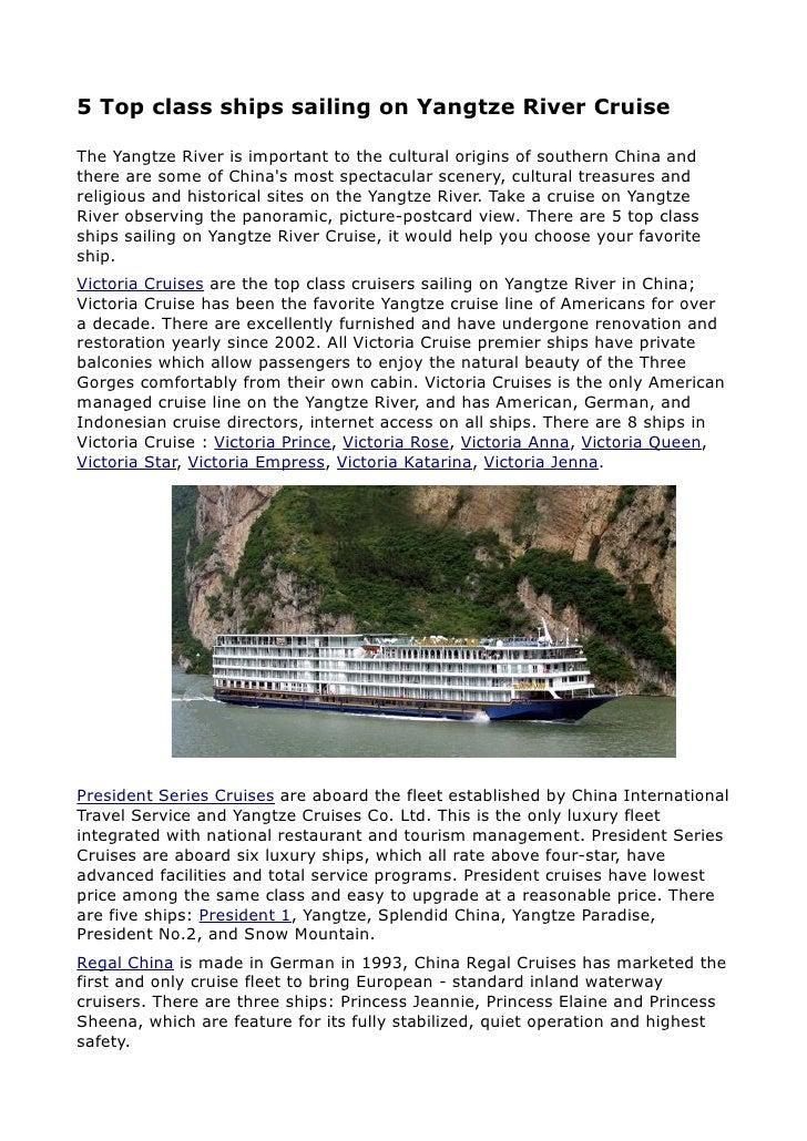 5 top class ships sailing on yangtze river cruise