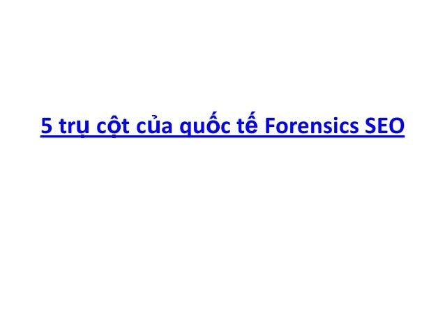 5 trụ cột của quốc tế Forensics SEO