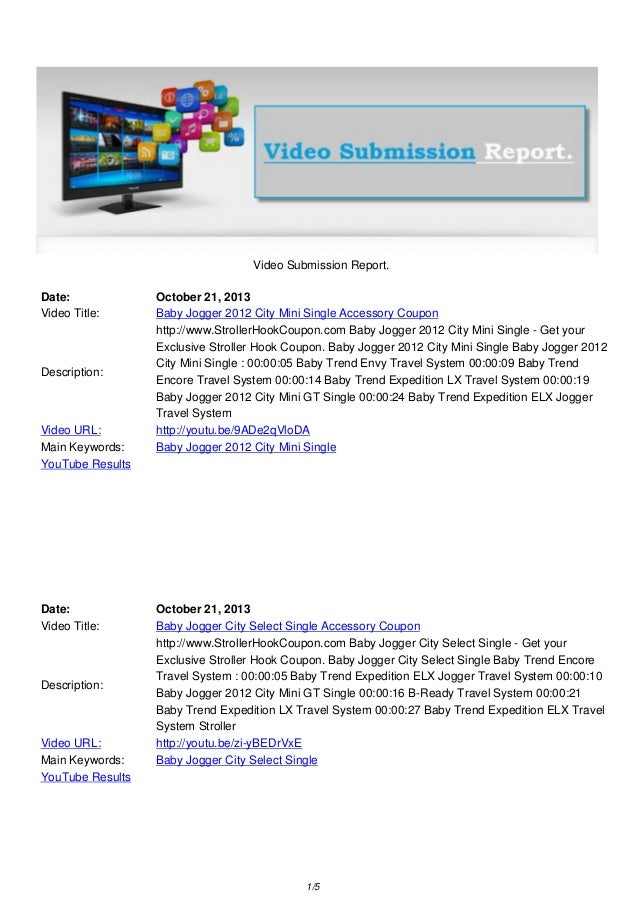Video Submission Report. Date: Video Title:  Description:  Video URL: Main Keywords: YouTube Results  Date: Video Title:  ...
