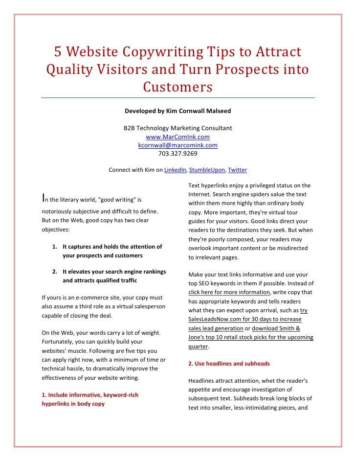 5WebsiteCopywritingTipstoAttract     QualityVisitorsandTurnProspectsinto                    Customers        ...