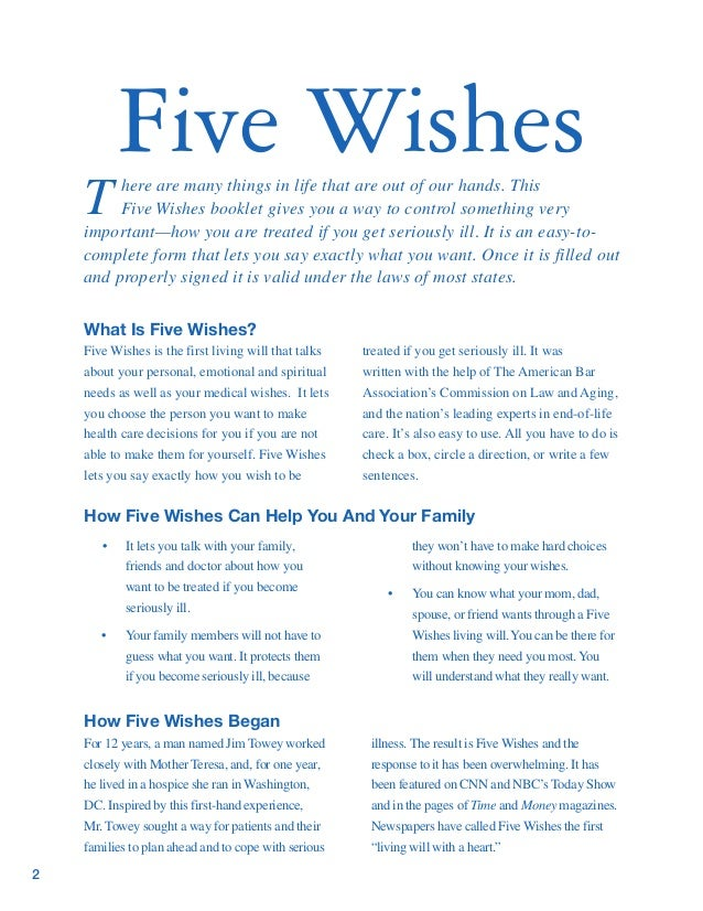 Decisive image with regard to printable five wishes pdf