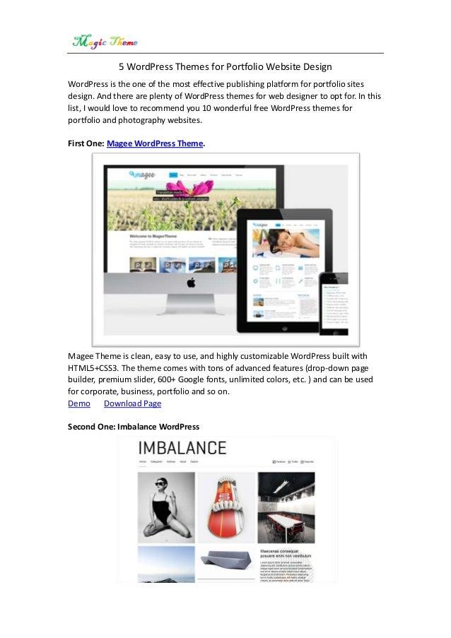 5 word press themes for portfolio sites
