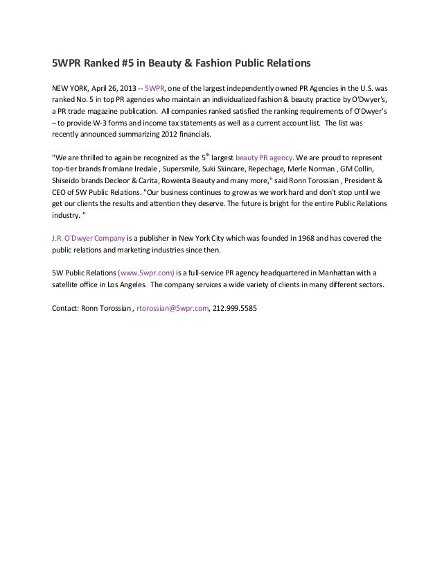 5WPR Ranked #5 in Beauty & Fashion Public RelationsNEW YORK, April 26, 2013 -- 5WPR, one of the largest independently owne...
