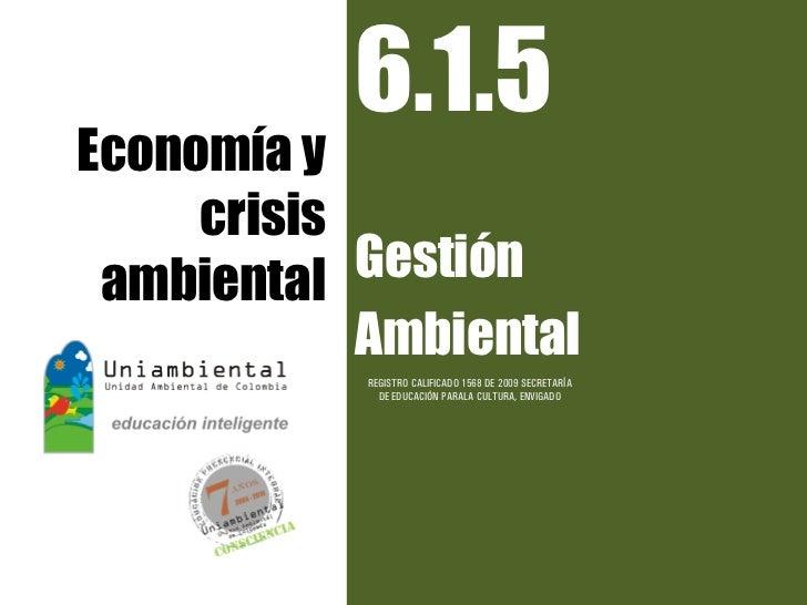 6.1.5Economía y     crisis ambiental  Gestión            Ambiental            REGISTRO CALIFICADO 1568 DE 2009 SECRETARÍA ...