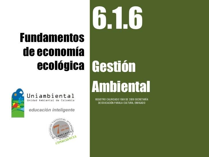 Fundamentos            6.1.6de economía   ecológica   Gestión               Ambiental               REGISTRO CALIFICADO 15...