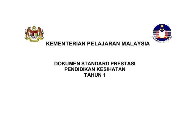STANDARD PRESTASIMATEMATIK TAHUN 1KEMENTERIAN PELAJARAN MALAYSIADOKUMEN STANDARD PRESTASIPENDIDIKAN KESIHATANTAHUN 1