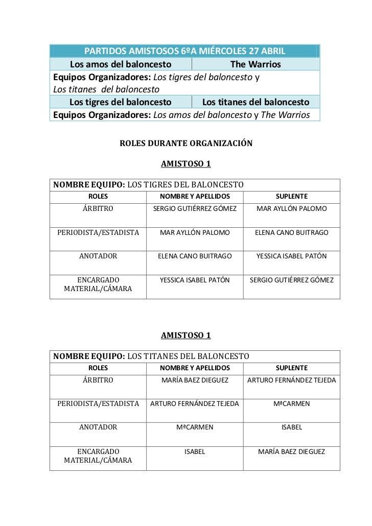PARTIDOS AMISTOSOS 6ºA MIÉRCOLES 27 ABRIL    Los amos del baloncesto                 The WarriosEquipos Organizadores: Los...
