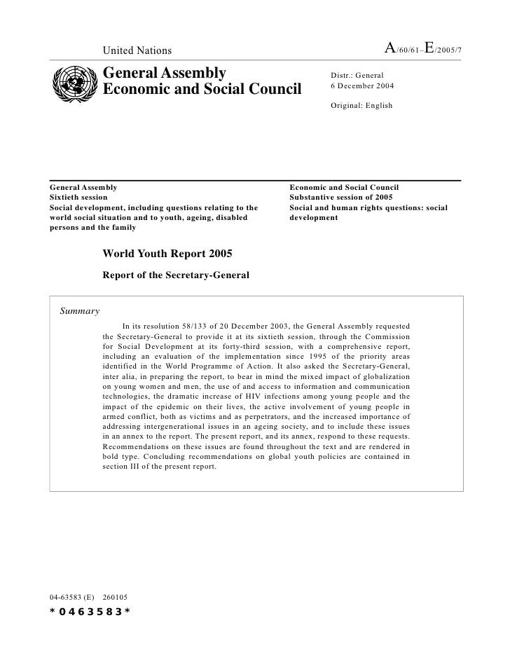 2005 - World Youth Report 2005 (A/60/61 & E/2005/7)