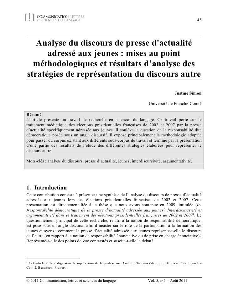 45   Analyse du discours de presse dactualité      adressé aux jeunes : mises au point  méthodologiques et résultats d'ana...