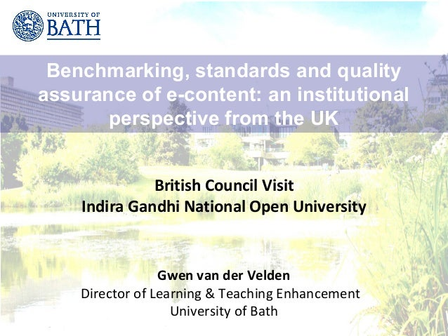 Benchmarking, standards and qualityassurance of e-content: an institutional       perspective from the UK              Bri...