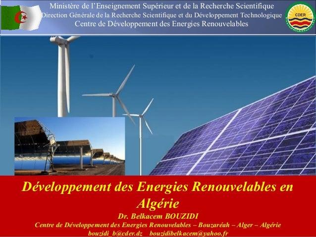 Ministère de l'Enseignement Supérieur et de la Recherche Scientifique    Direction Générale de la Recherche Scientifique e...