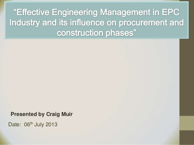 Effective Engineering Management in EPC Industry
