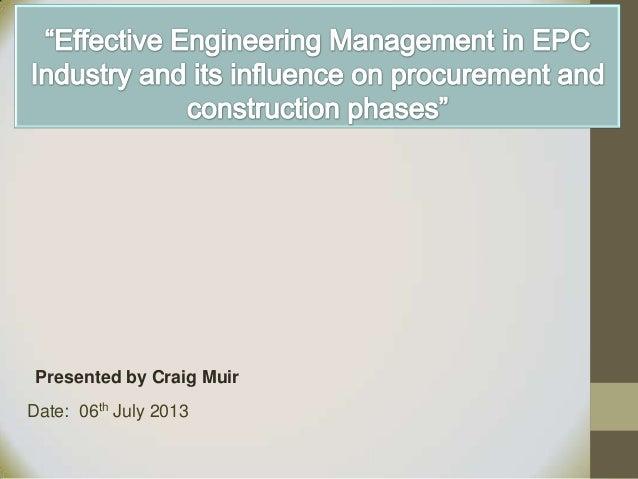 Effective Engineering Management in EPC Industry