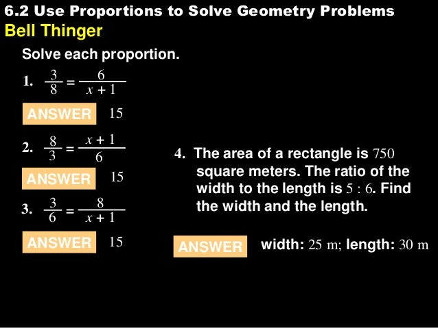 6.2 use proportions to solve geometry problems