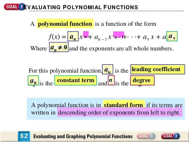 E VALUATING P OLYNOMIAL F UNCTIONS  A polynomial function is a function of the form  f (x) = an x nn + an – 1 x nn––1 1 · ...
