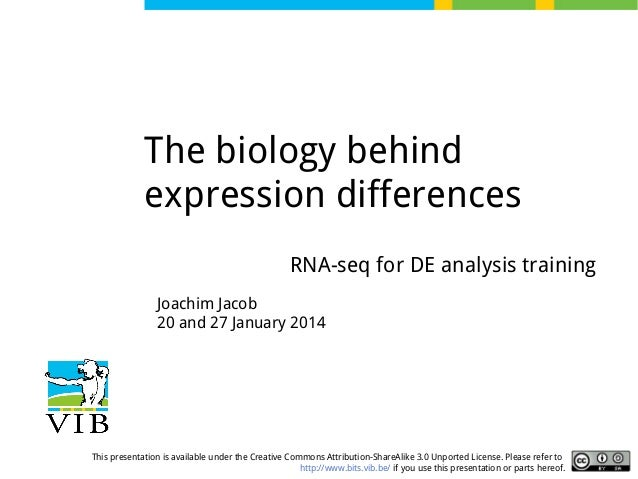 The biology behind expression differences RNA-seq for DE analysis training Joachim Jacob 20 and 27 January 2014  This pres...