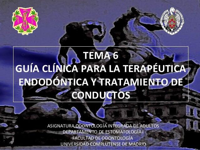 TEMA 6 GUÍA CLÍNICA PARA LA TERAPÉUTICA ENDODÓNTICA Y TRATAMIENTO DE CONDUCTOS ASIGNATURA ODONTOLOGÍA INTEGRADA DE ADULTOS...