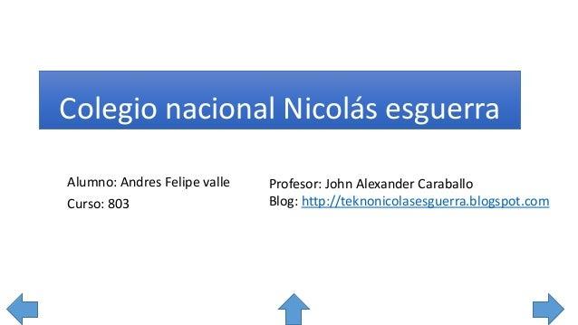 Colegio nacional Nicolás esguerra Profesor: John Alexander Caraballo Blog: http://teknonicolasesguerra.blogspot.com Alumno...