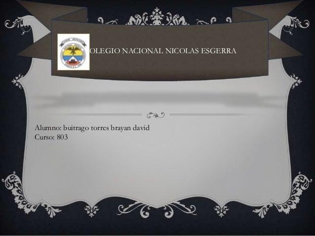 COLEGIO NACIONAL NICOLAS ESGERRA Alumno: buitrago torres brayan david Curso: 803