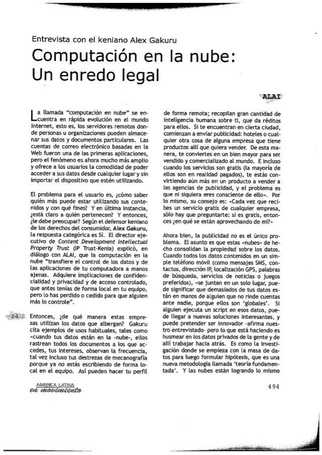 América Latina: Entrevista con el Keniano Alex Gakuru Computación en la nube: Un enredo legal
