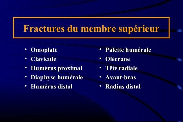 Fractures du membre supérieur • Omoplate • Clavicule • Humérus proximal • Diaphyse humérale • Humérus distal • Palette hum...
