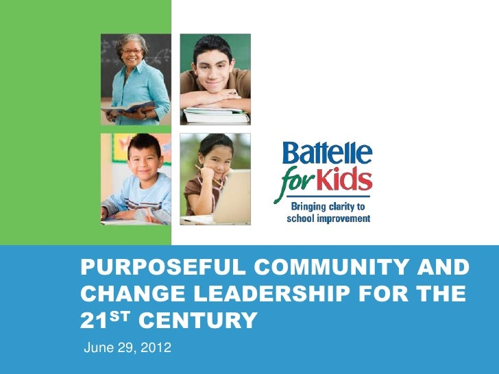 PURPOSEFUL COMMUNITY ANDCHANGE LEADERSHIP FOR THE21ST CENTURYJune 29, 2012