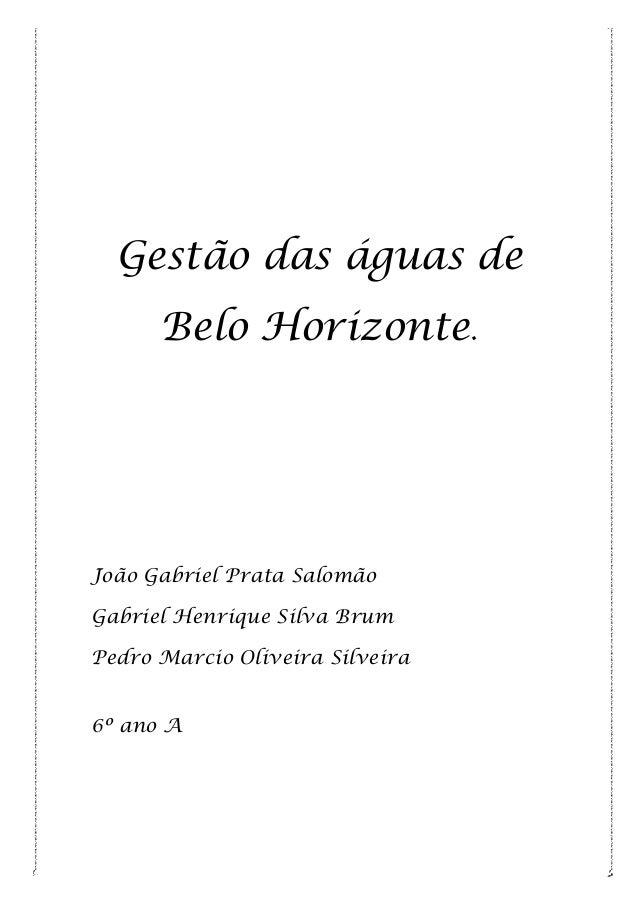 Gestão das águas de Belo Horizonte.  João Gabriel Prata Salomão Gabriel Henrique Silva Brum Pedro Marcio Oliveira Silveira...