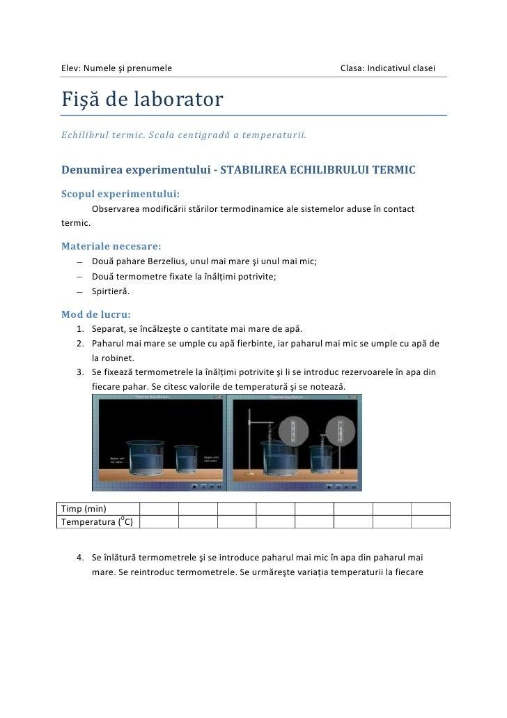 Fişa de laborator - echilibrul termic