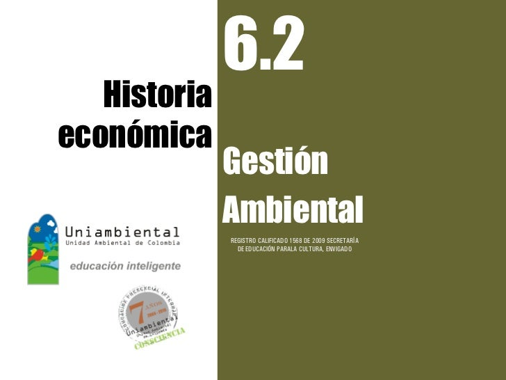 6.2   Historiaeconómica              Gestión              Ambiental              REGISTRO CALIFICADO 1568 DE 2009 SECRETAR...