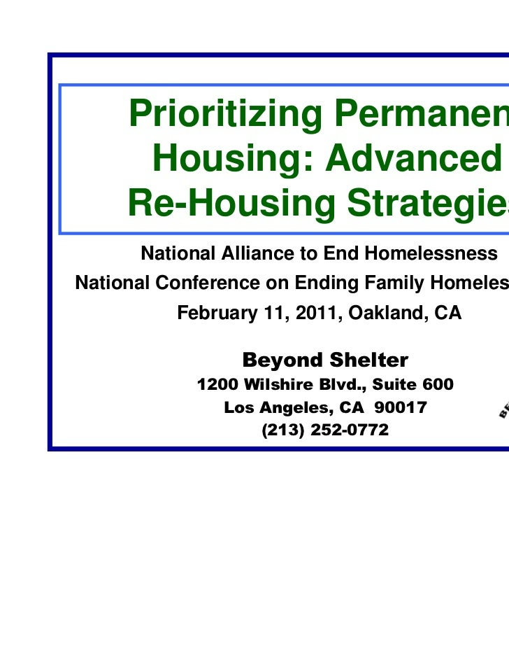 Prioritizing Permanent      Housing: Advanced     Re-Housing Strategies      National Alliance to End HomelessnessNational...