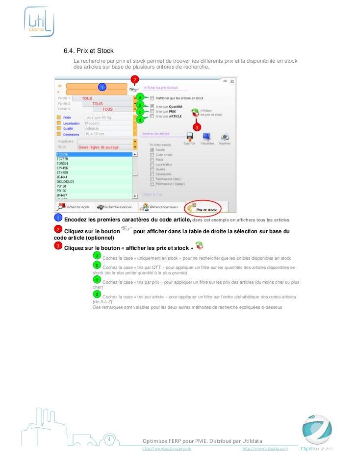 6.4. Prix et Stock        La recherche par prix et stock permet de trouver les différents prix et la disponibilité en stoc...
