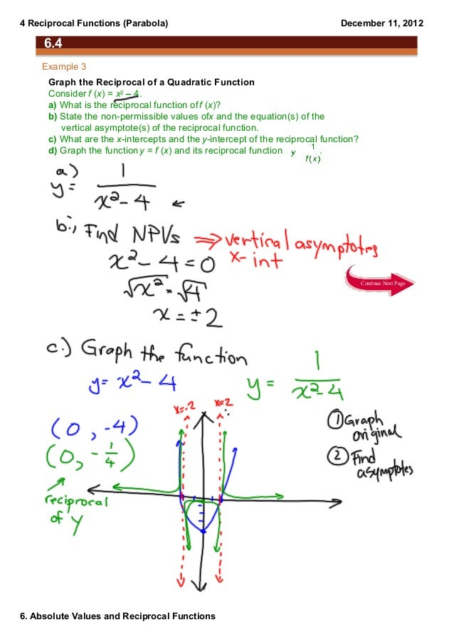 4 Reciprocal Functions (Parabola)                                            December 11, 2012     6.4    Example 3      G...