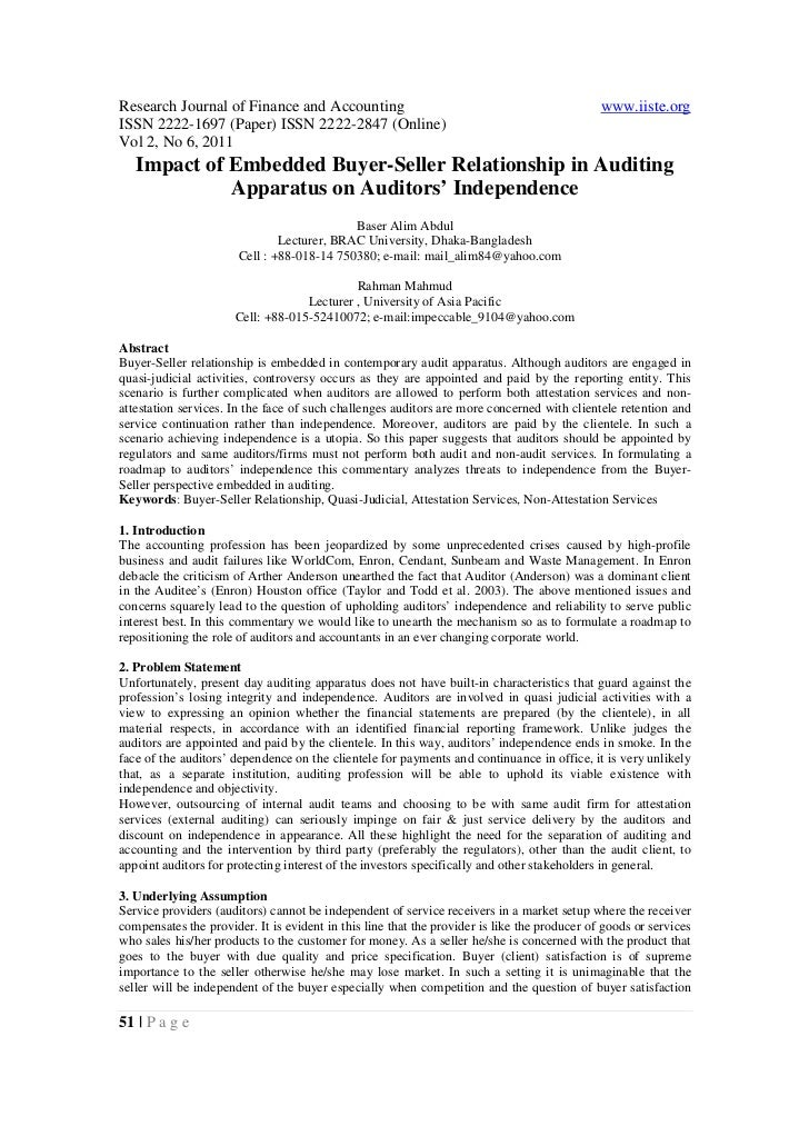 6.[51 54]impact of embedded buyer-seller relationship in auditing apparatus on auditors' independence