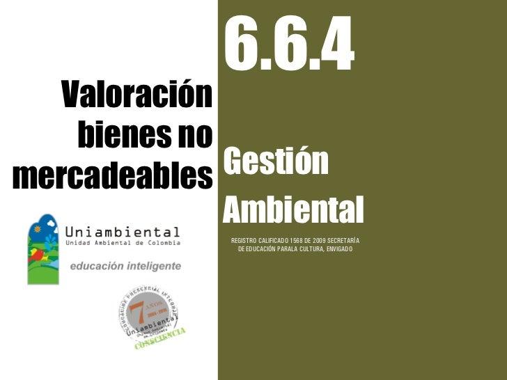 6.6.4   Valoración    bienes nomercadeables  Gestión              Ambiental              REGISTRO CALIFICADO 1568 DE 2009 ...