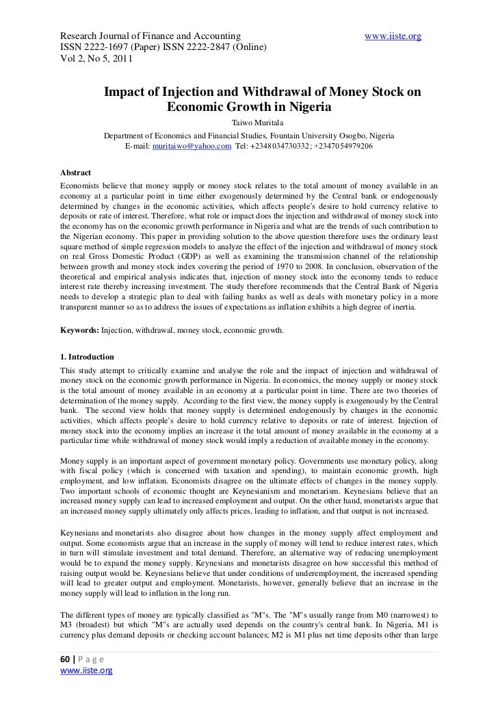 6.[60 67]impact of injection and withdrawal of money stock on economic growth in nigeria