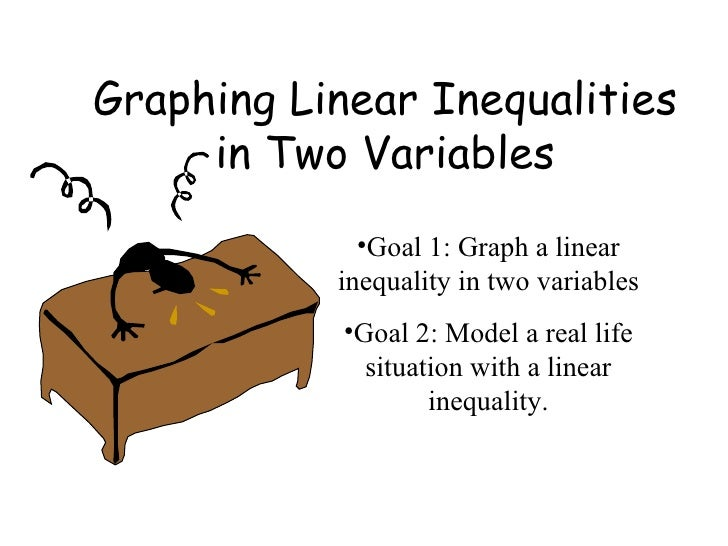 Graphing Linear Inequalities in Two Variables <ul><li>Goal 1: Graph a linear inequality in two variables </li></ul><ul><li...