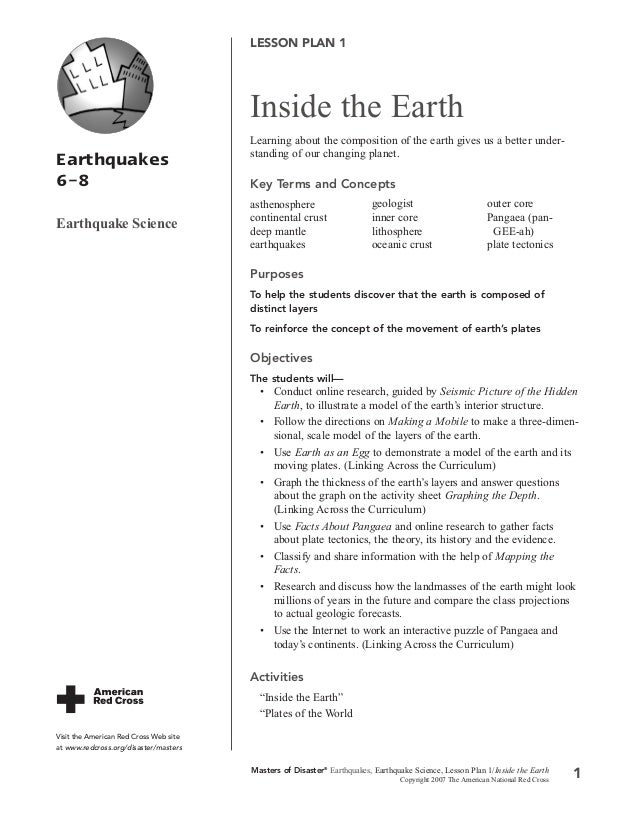 LESSON PLAN 1  Inside the Earth Earthquakes 6–8 Earthquake Science  Learning about the composition of the earth gives us a...
