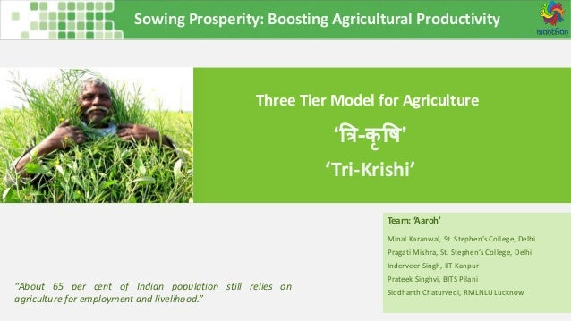 Sowing Prosperity: Boosting Agricultural Productivity Three Tier Model for Agriculture Team: 'Aaroh' Minal Karanwal, St. S...