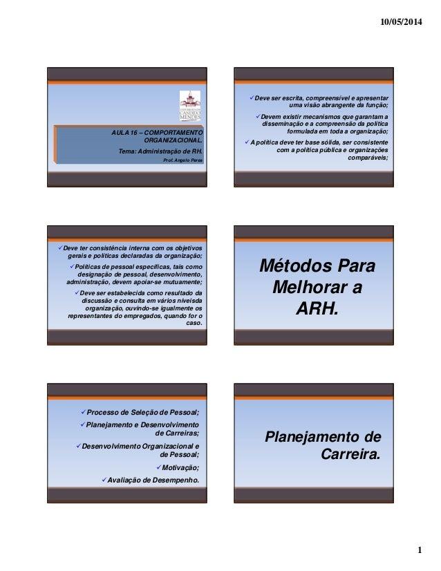 10/05/2014 1 AULA 16 – COMPORTAMENTO ORGANIZACIONAL. Tema: Administração de RH. Prof. Angelo Peres Deve ser escrita, compr...