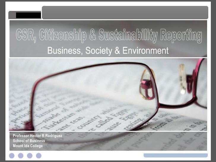 CSR, Citizenship And Sustainability Reporting