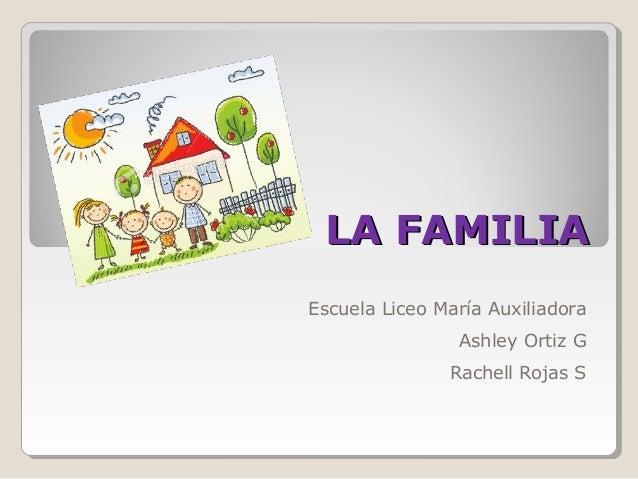 LA FAMILIALA FAMILIA Escuela Liceo María Auxiliadora Ashley Ortiz G Rachell Rojas S