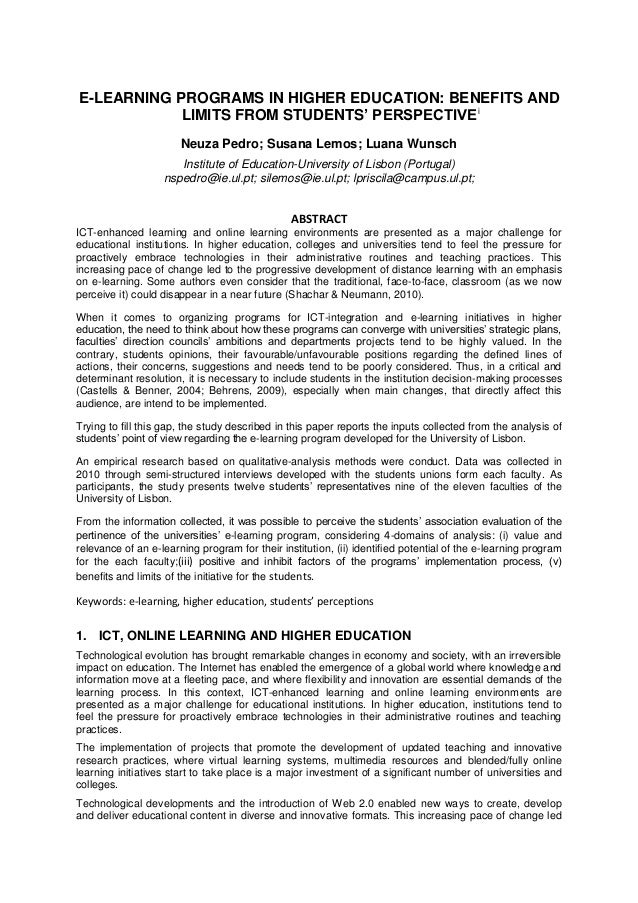 E-LEARNING PROGRAMS IN HIGHER EDUCATION: BENEFITS AND LIMITS FROM STUDENTS' PERSPECTIVEi Neuza Pedro; Susana Lemos; Luana ...