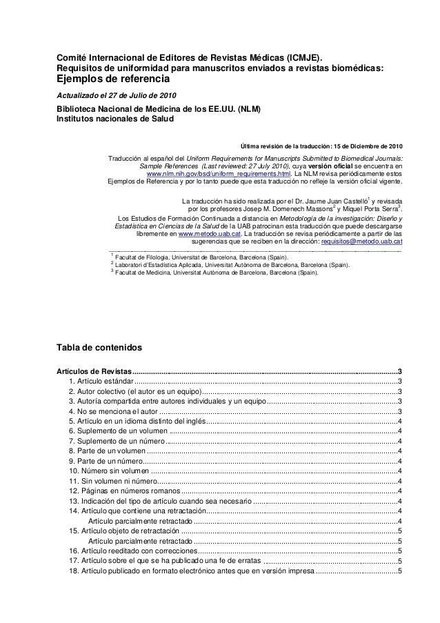 Comité Internacional de Editores de Revistas Médicas (ICMJE).Requisitos de uniformidad para manuscritos enviados a revista...