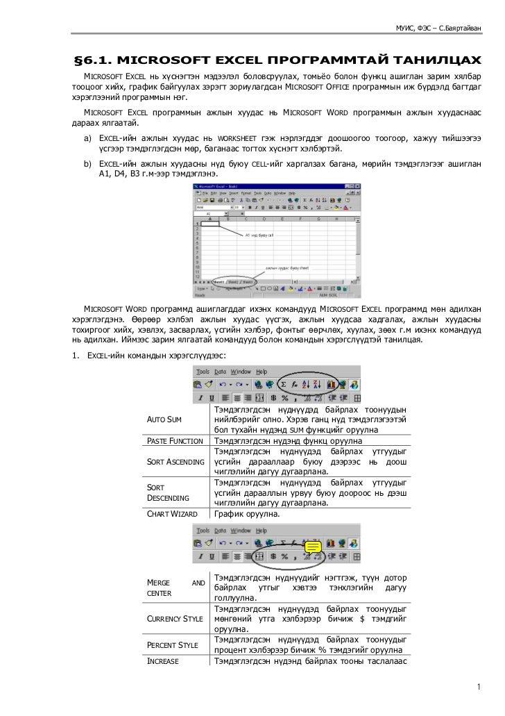 МУИС, ФЭС – С.Баяртайван§6.1. MICROSOFT EXCEL ПРОГРАММТАЙ ТАНИЛЦАХ   MICROSOFT EXCEL нь хүснэгтэн мэдээлэл боловсруулах, т...